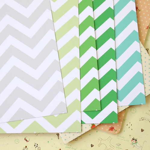 green mix fat chevron printed card stock