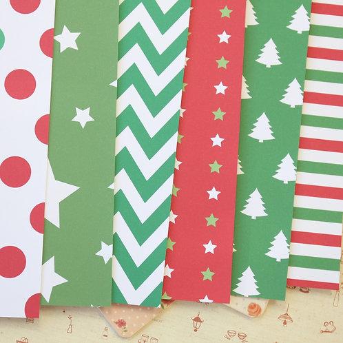 set 05 christmas patterns printed card stock