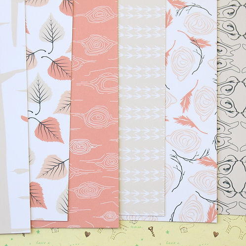 set 01 terracotta woods mix printed card stock
