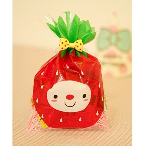 strawberry face cartoon plastic bags