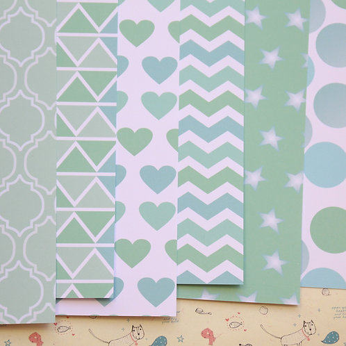 set 02 mint green mix printed card stock
