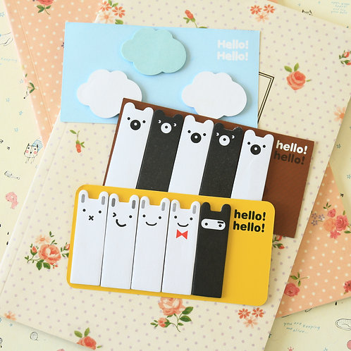 j story hello hello cartoon sticky notes tabs