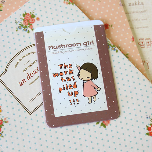 work mushroom girl cartoon card holder