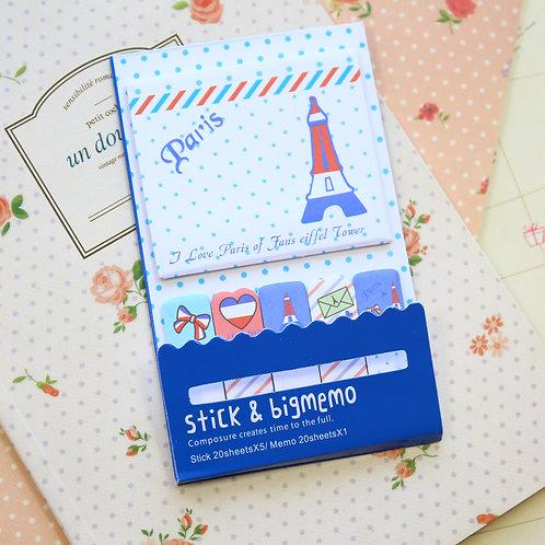 paris tri color stick & big memo sticky notes