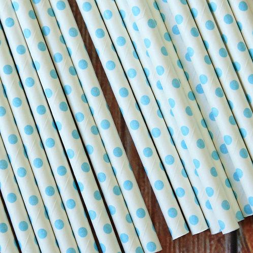light blue swiss dots paper straws