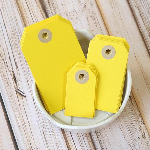 bright yellow colour luggage tags