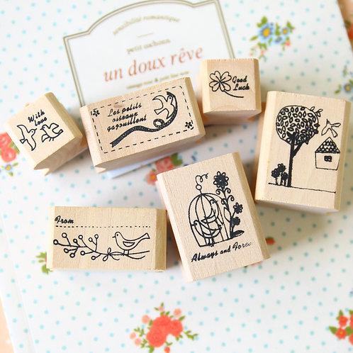 bird cage shinzi katoh cartoon rubber stamps set