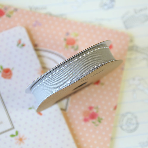 jane means grey stitched grosgrain ribbon