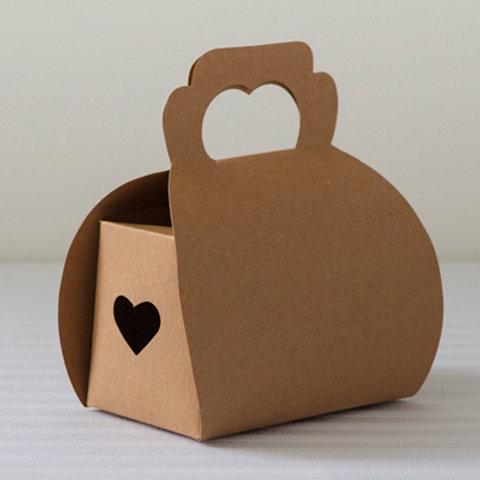 kraft brown heart favour boxes