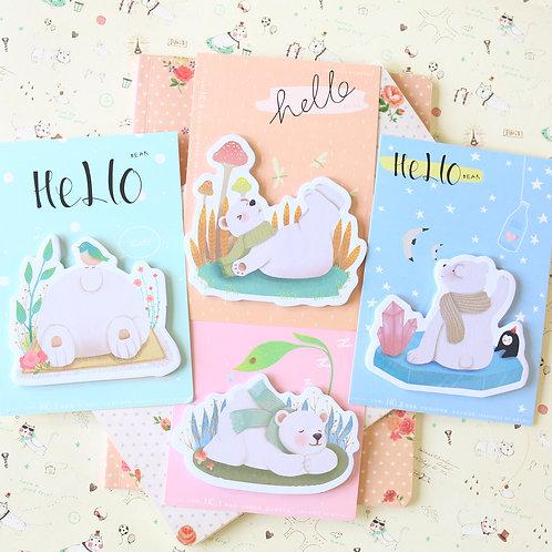 hello bear cartoon sticky notes