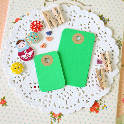 spring green rounded rectangle tags
