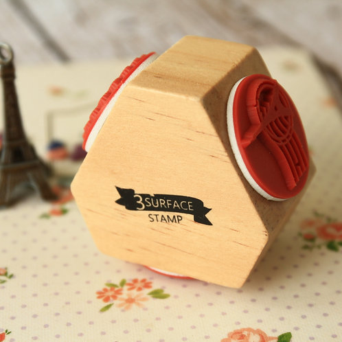 3 surface deco wooden rubber stamp