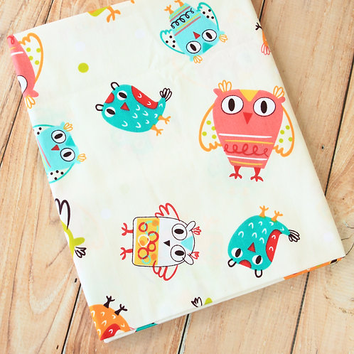 big owls cartoon cotton fabric
