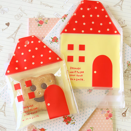 cute little house cartoon plastic bags