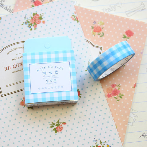 blue check cardlover simple series washi tape