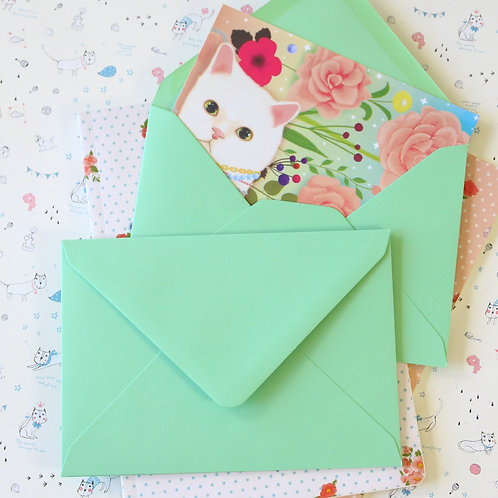 mint green vintage series c6 banker envelopes