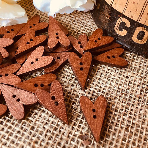 vintage brown hearts natural wooden buttons