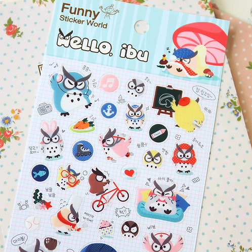 funny stickerworld hello ibu owl cartoon stickers