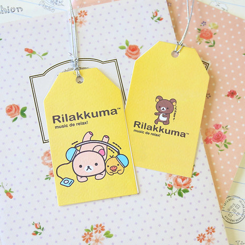 music rilakkuma bear cartoon gift tag card