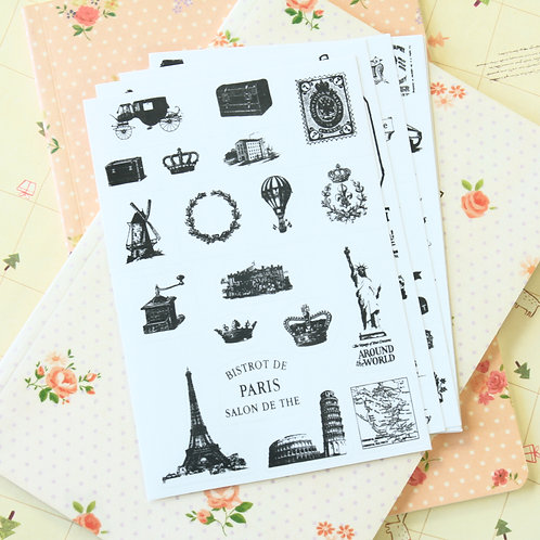 retro stamp postmark stickers set