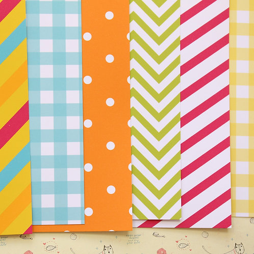 set 03 bright colours mix printed card stock