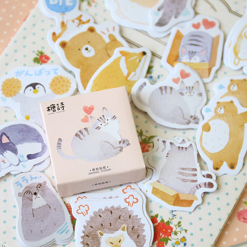 bye bye animals candy poetry cartoon cute shapes stickers