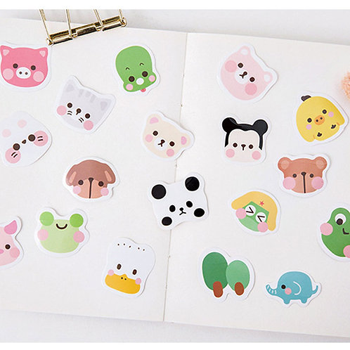 animal faces candy poetry cartoon cute shapes stickers