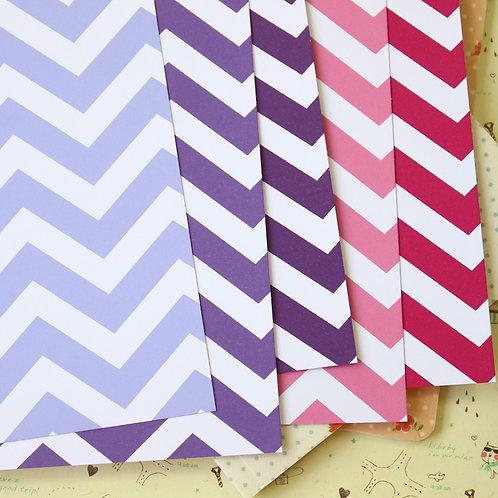 purple mix fat chevron printed card stock