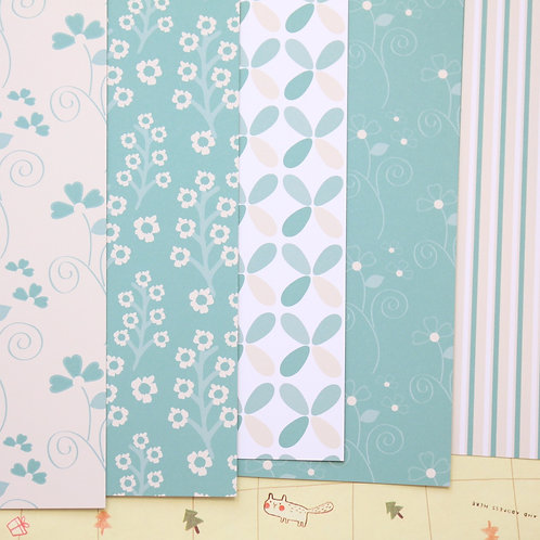 set 02 teal and cream patterns mix printed card stock