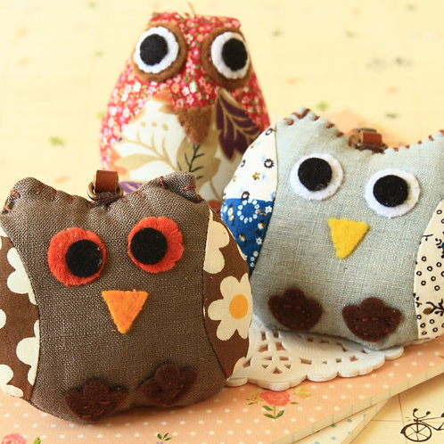 owl fabric bird key chain bag charm