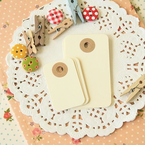 vanilla ivory rounded rectangle tags