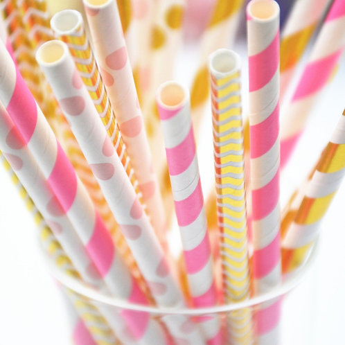 gold foil & pastel mix paper straws