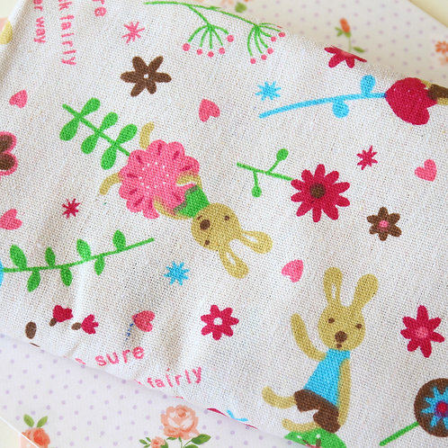 happy rabbits print cotton linen fabric fat quarter