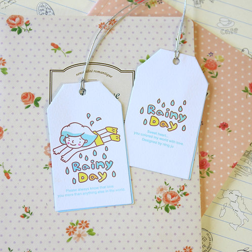rainy day kawaii cartoon gift tag card