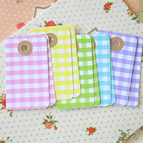 pastel gingham rounded rectangle tags