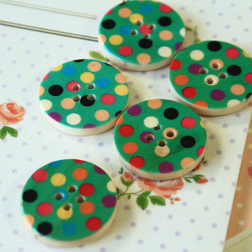 green polka dot printed wooden buttons
