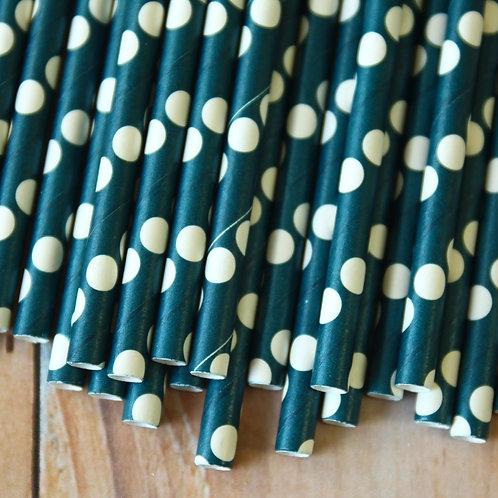 solid navy blue big dots paper straws