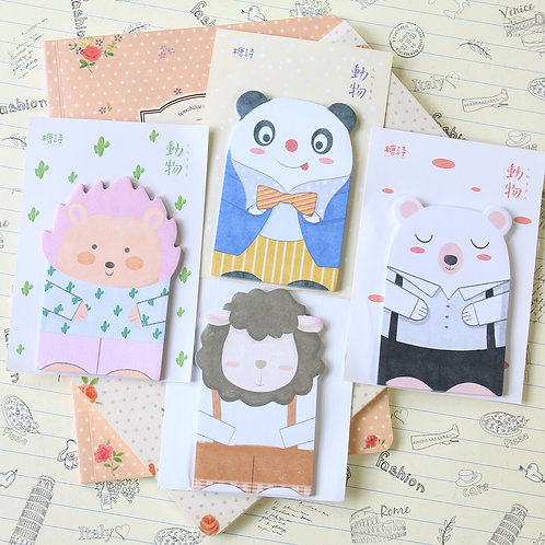 cute animal paper shapes cartoon sticky notes