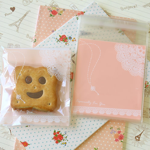 lace & key peach pink cello bags