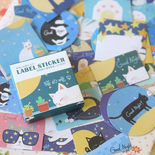 night cat cartoon sealing stickers