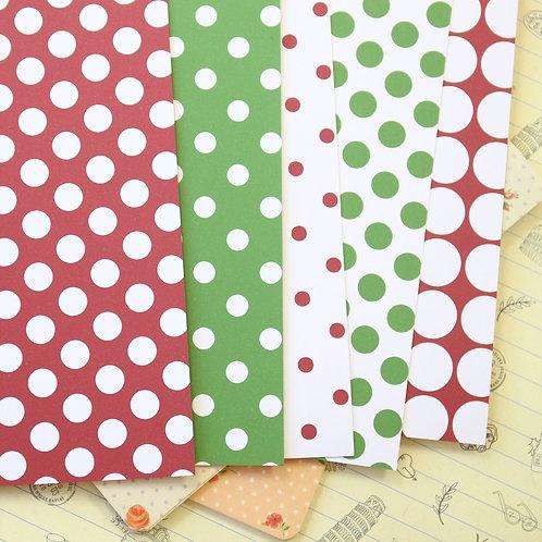 set 01 christmas polka dots printed card stock