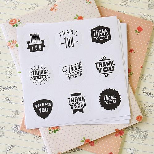 nacoo thank you black & white sticker seals