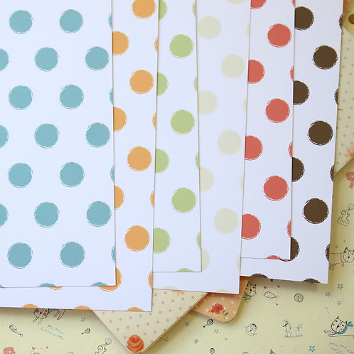 set 02 distressed dots mix printed card stock