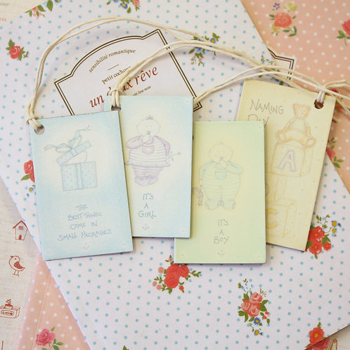 east of india printed baby christening gift tags
