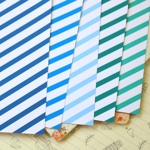blue mix stripes printed card stock