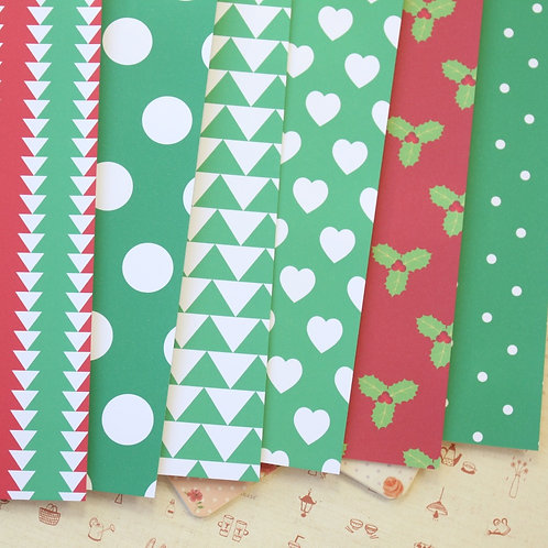 set 09 christmas patterns printed card stock