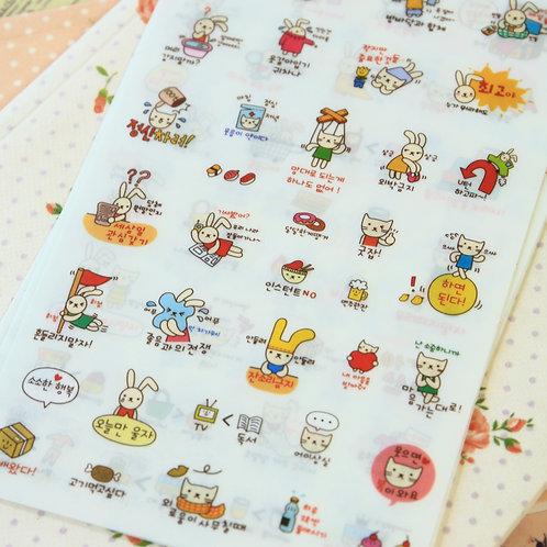 cat and rabbit cartoon stickers set