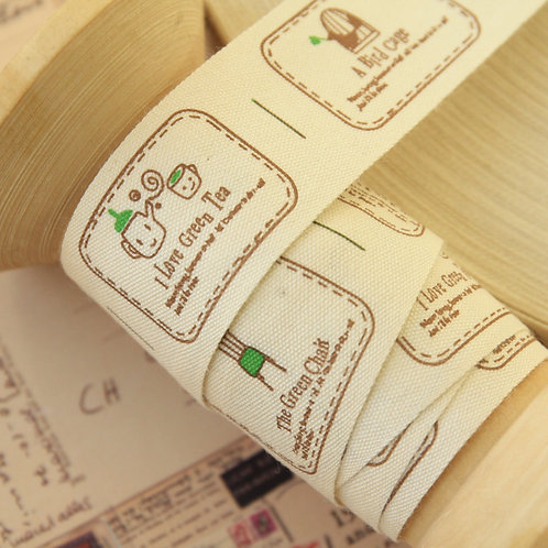 nature green tea cartoon cotton sewing tape ribbon