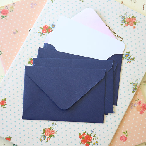 midnight blue pearlescent mini envelopes & notecards