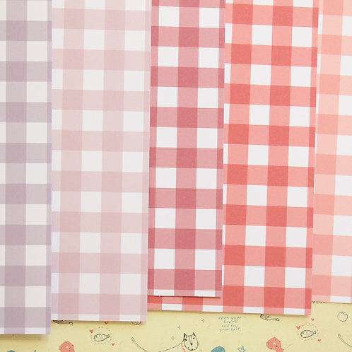 set 03 colorful gingham mix printed card stock